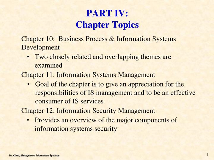 part iv chapter topics n.