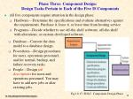 phase three component design design tasks pertain to each of the five is components
