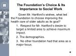 the foundation s choice its importance to social work