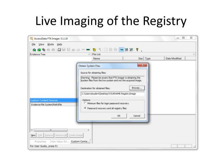 Live Imaging of the Registry