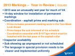 2013 markings year in review issues
