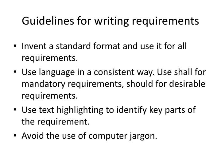 Guidelines for writing requirements