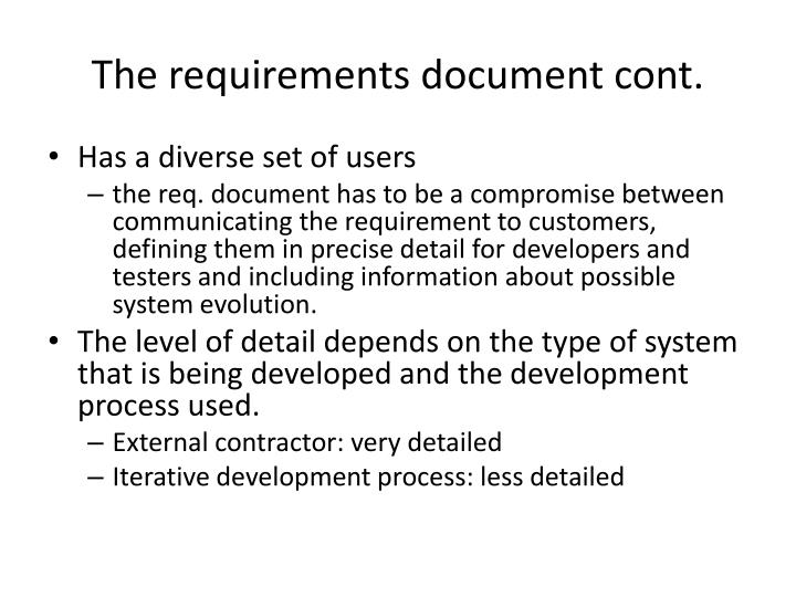 The requirements document cont.