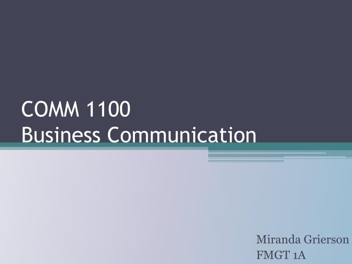 comm 1100 business communication n.