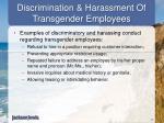 discrimination harassment of transgender employees