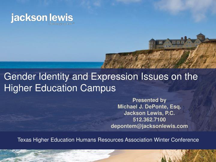 gender identity and expression issues on the higher education campus n.