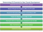 determining p3 potential for new transit development