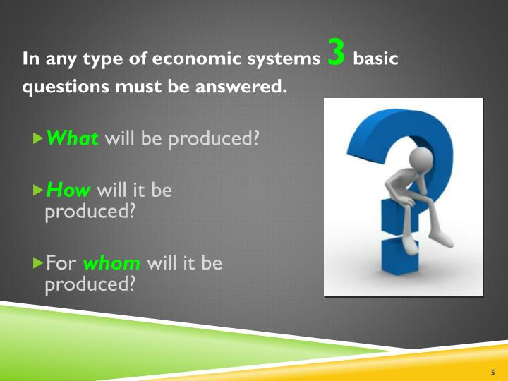 In any type of economic systems