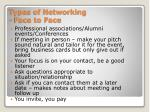 types of networking face to face