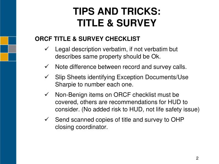 Tips and tricks title survey