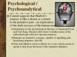 psychological psychoanalytical