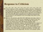 response to criticism