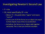 investigating newton s second law