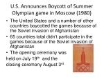 u s announces boycott of summer olympian game in moscow 1980