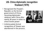 us china diplomatic recognition finalized 1979