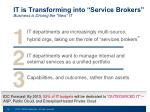 it is transforming into service brokers business is driving the new it