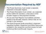 documentation required by nsf