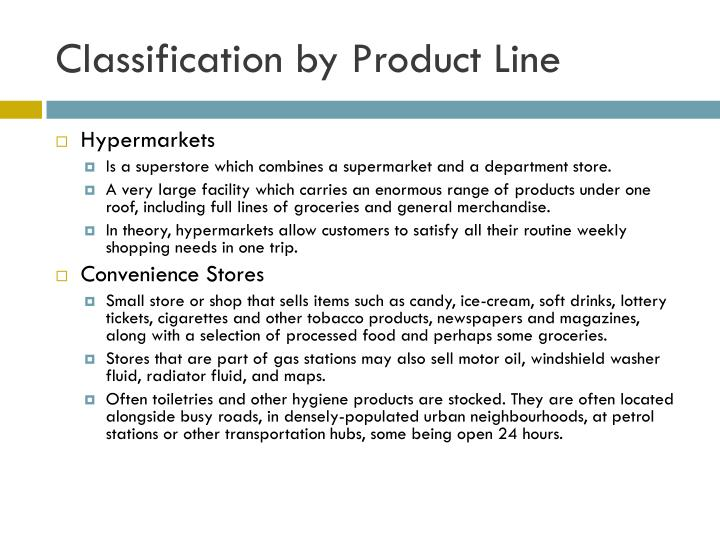 Classification by Product Line