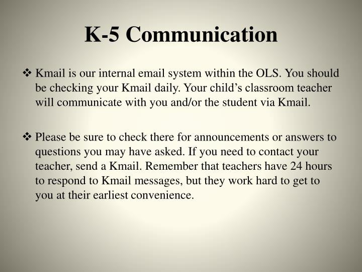 K-5 Communication