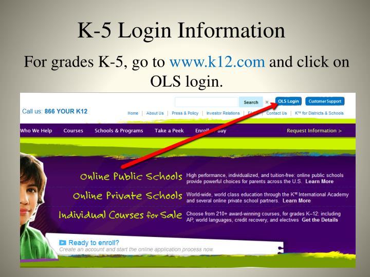 K-5 Login Information