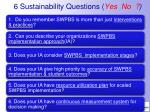 6 sustainability questions yes no
