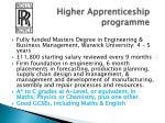 higher apprenticeship programme