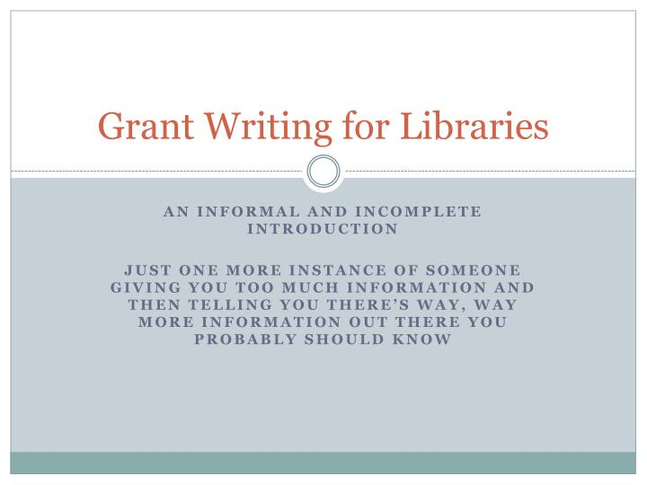 grant writing for libraries n.
