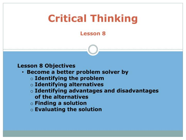 critical thinking lesson 8 n.