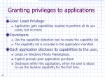 granting privileges to applications