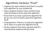 algorithmic hardness proof