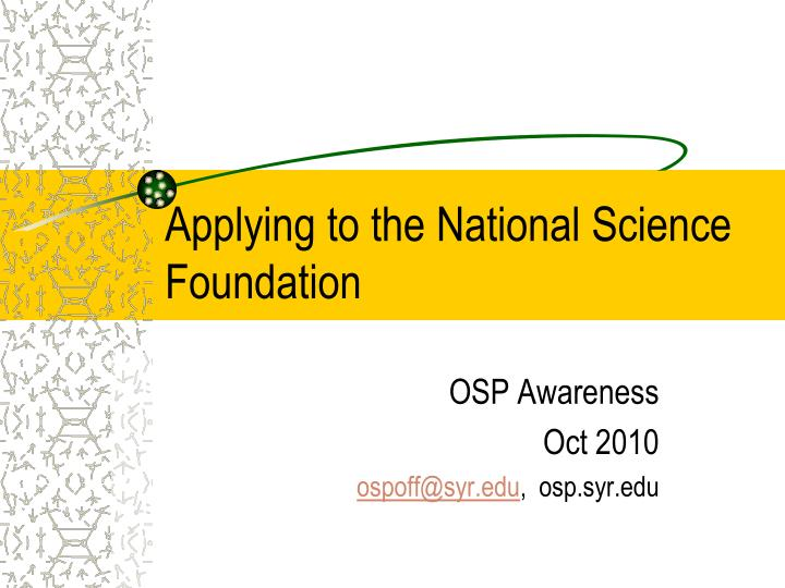 applying to the national science foundation n.