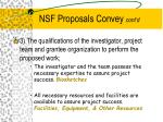 nsf proposals convey cont d