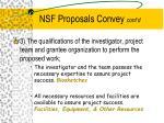 nsf proposals convey cont d