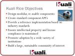 kuali rice objectives