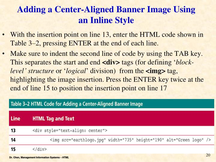 Adding a Center-Aligned Banner Image Using an Inline Style
