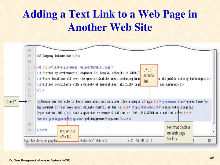 Adding a Text Link to a Web Page in Another Web Site