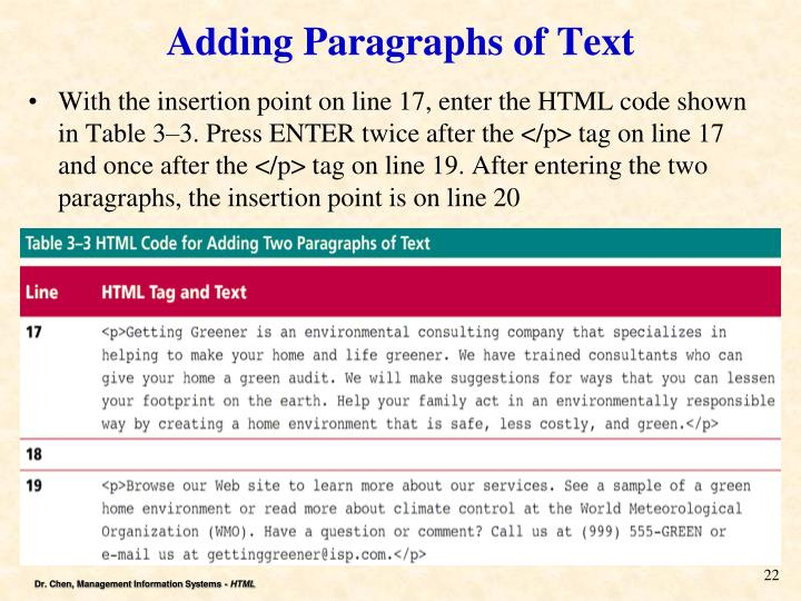 Adding Paragraphs of Text