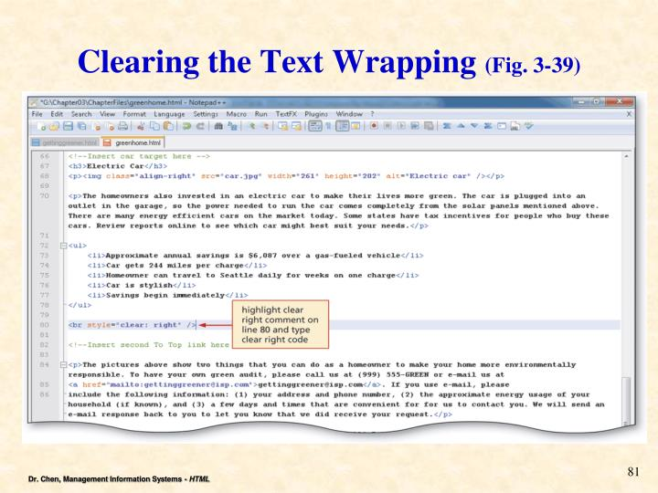 Clearing the Text Wrapping