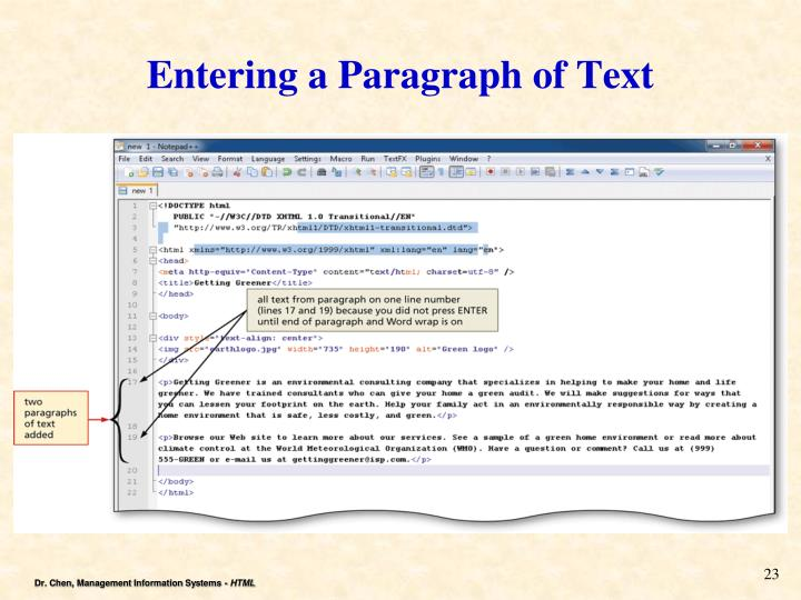 Entering a Paragraph of Text
