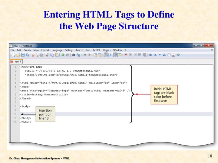 Entering HTML Tags to Define