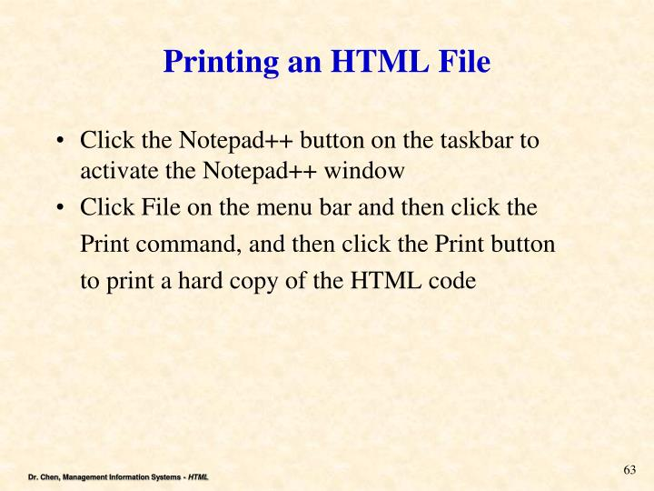 Printing an HTML File