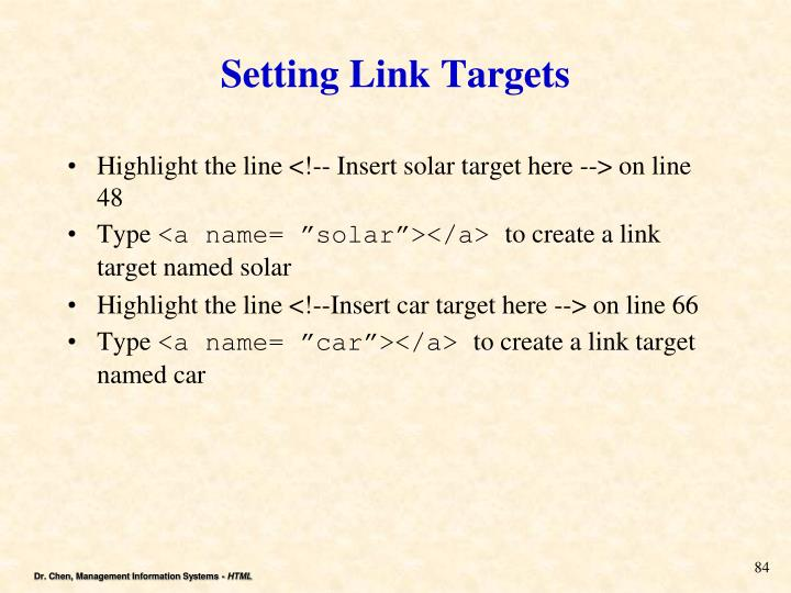Setting Link Targets