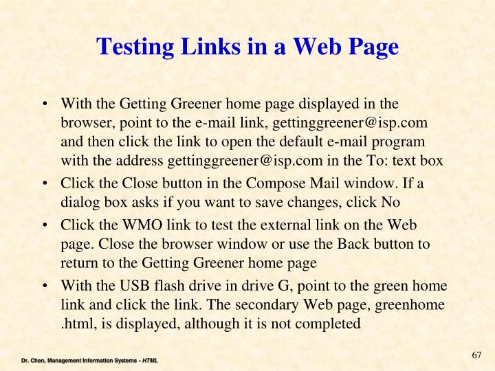 Testing Links in a Web Page