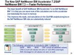 the new sap netweaver bw accelerator 7 2 sap netweaver bw 7 3 faster performance