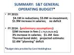 summary s t general operating budget