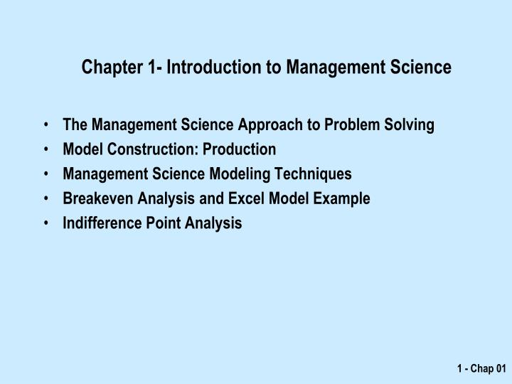 chapter 1 introduction to management science n.
