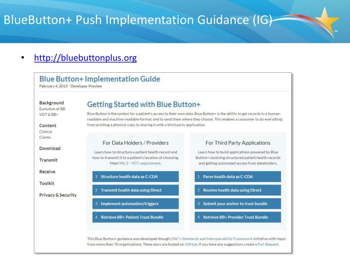 BlueButton+ Push Implementation Guidance (IG)