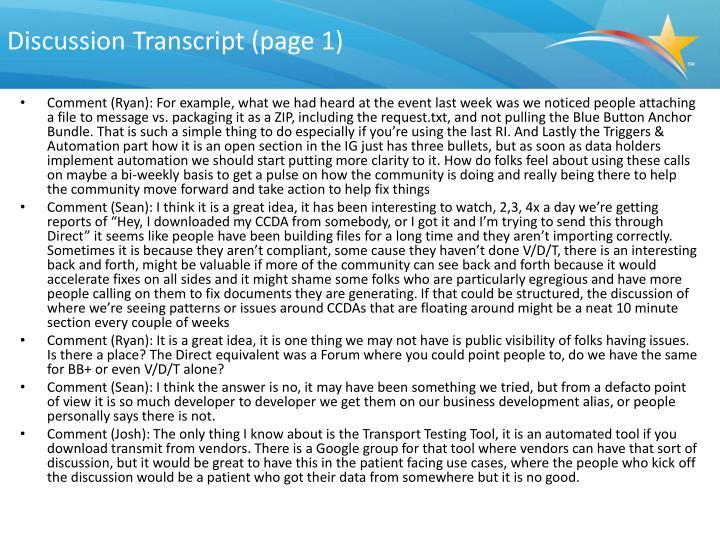 Discussion Transcript (page 1)