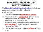 binomial probability distrtibution