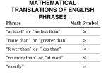 mathematical translations of english phrases